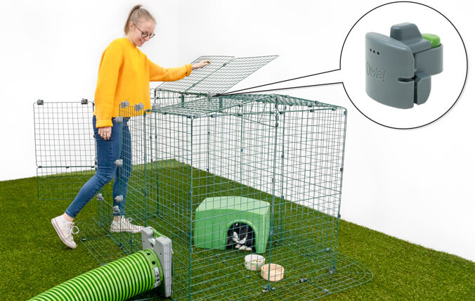 Using the Easy Access Locks for Zippi Runs you will be able to turn any of the mesh panels into a door or hatch for easy access to your pets.
