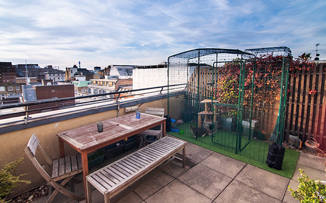 The cat balcony enclosure on an apartment building roof terrace in the middle of a city with the optional porch